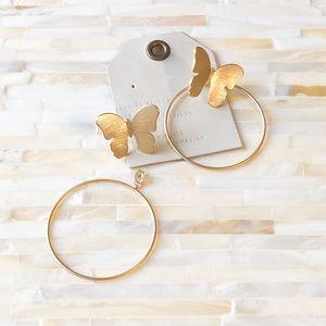 Anthropologie Jewelry - Anthropologie Butterfly Front Back Hoop Earrings